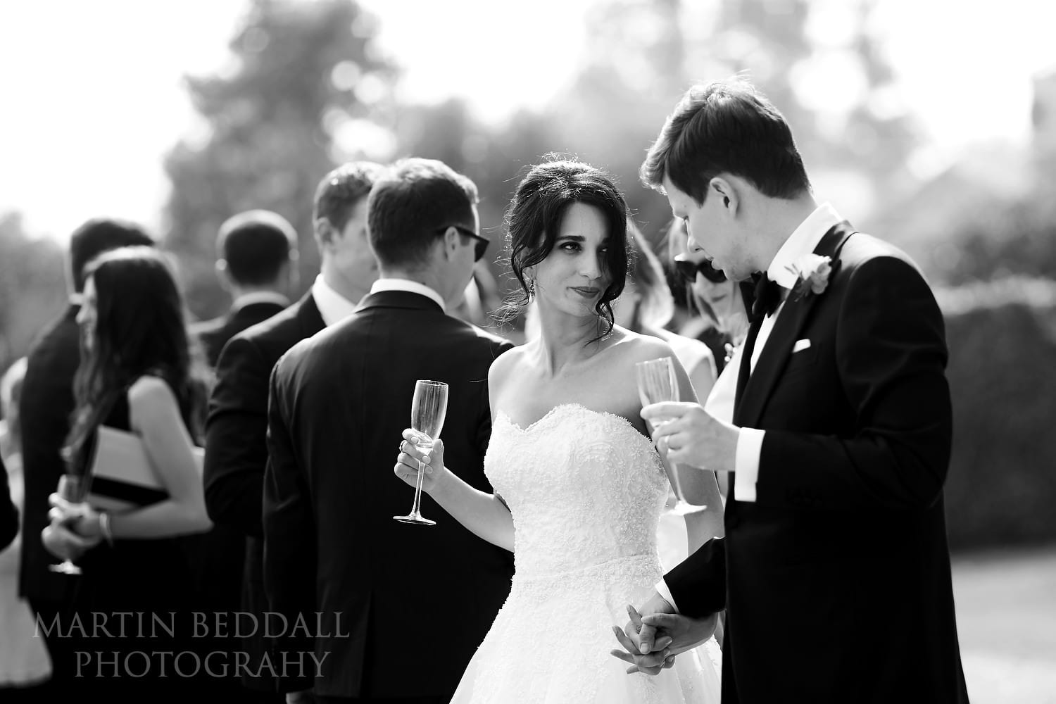Bride and groom at Goodwood House wedding reception