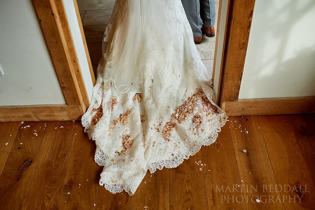 confetti on the wedding dress