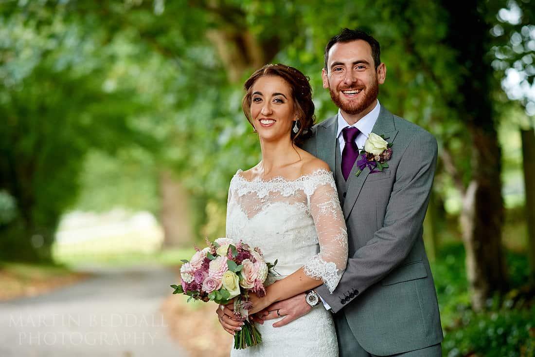 bride and groom portrait at Burley Manor wedding