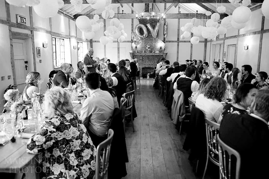 wedding speeches at Burley manor barn