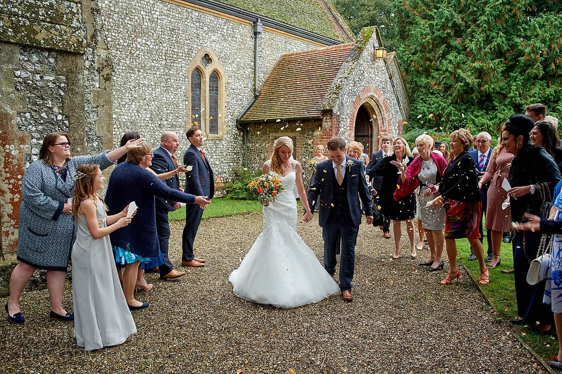 confetti at Highclere church