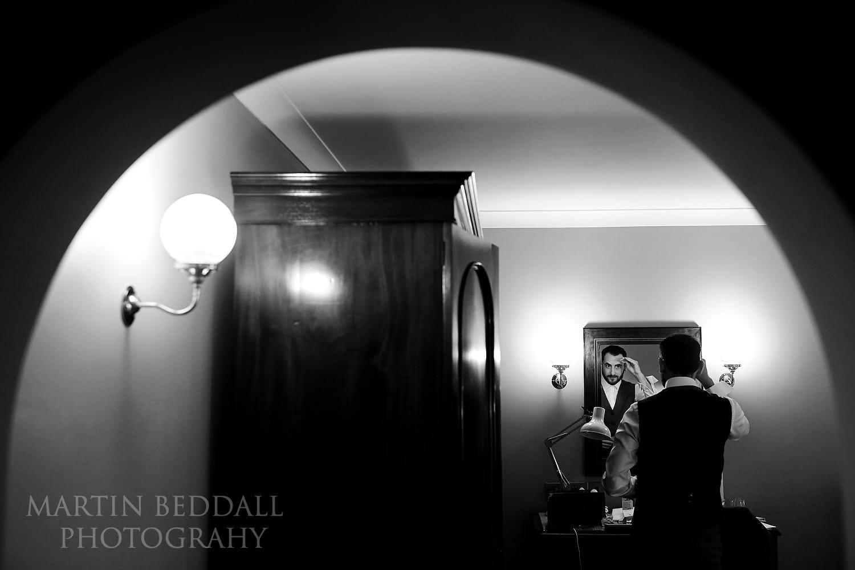 Groom getting ready at Burley Manor wedding
