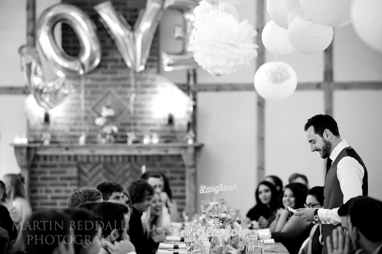 Groom's speech at Burley Manor wedding