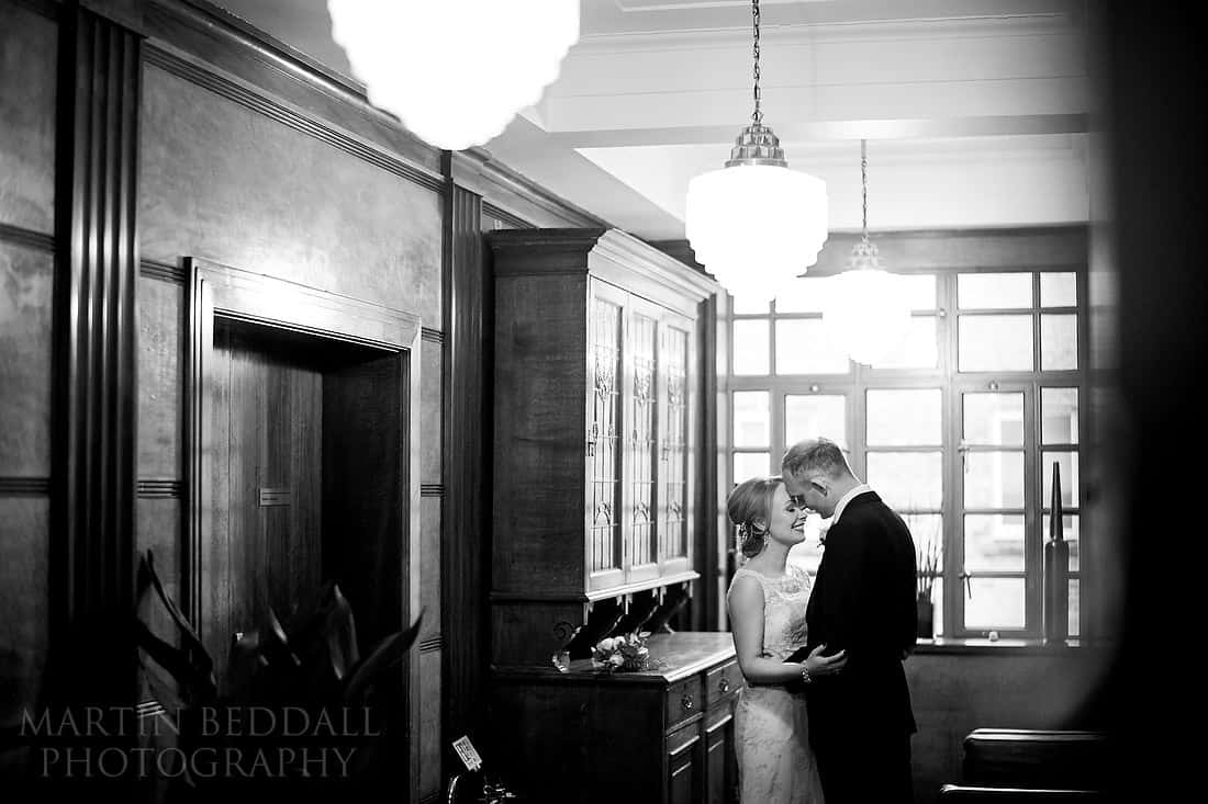 bride and groom portrait at town hall hotel in London