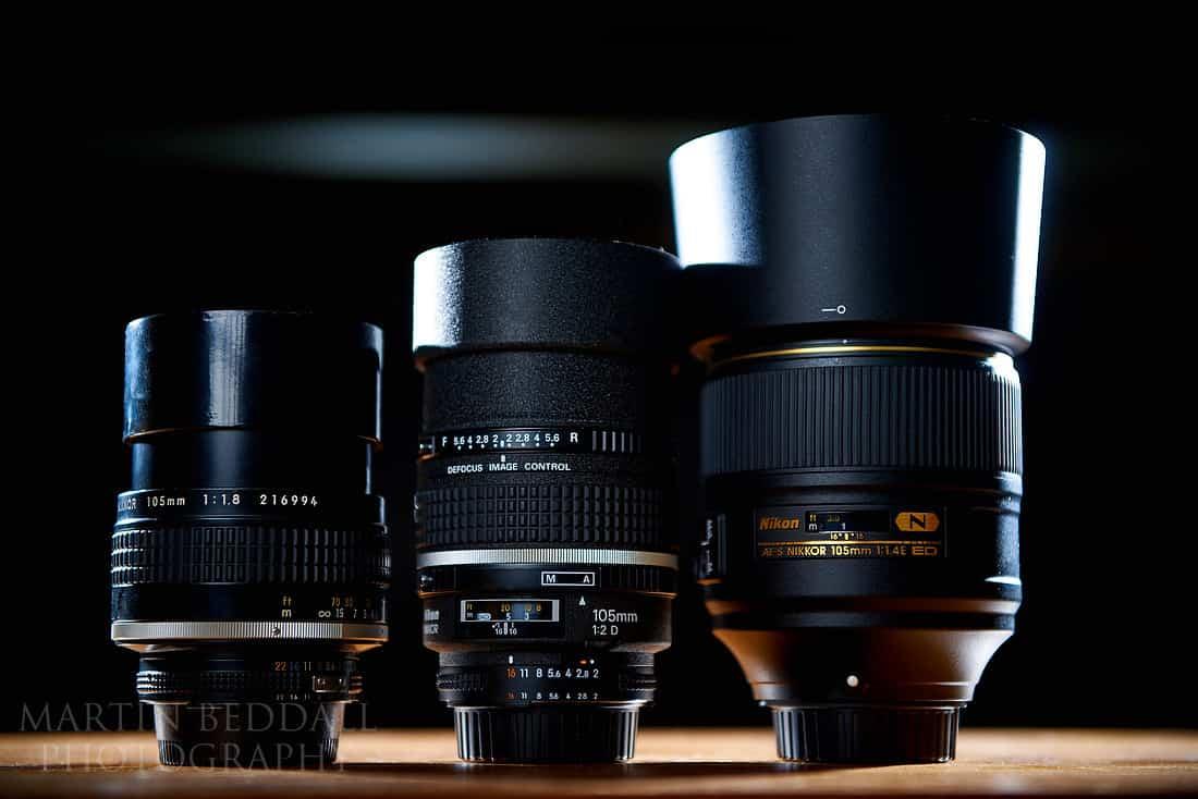 Three Nikon 105mm lenses