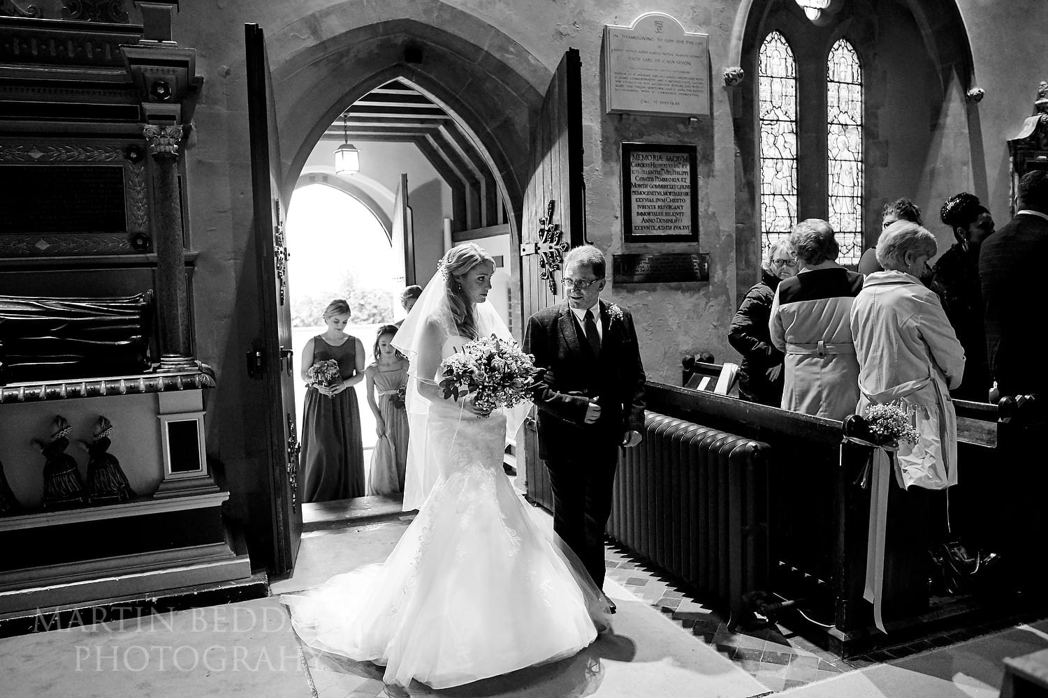 Bride and her father enter Highclere church