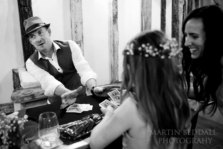 Magic act at Clock Barn wedding