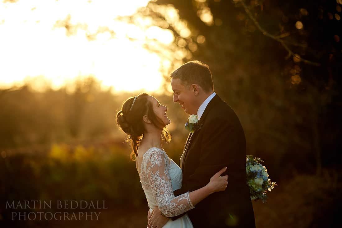 Winter sun couple portrait