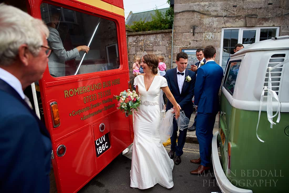 getting onto the wedding bus