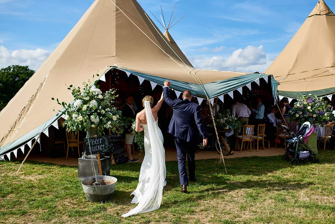 Walking into the tipis