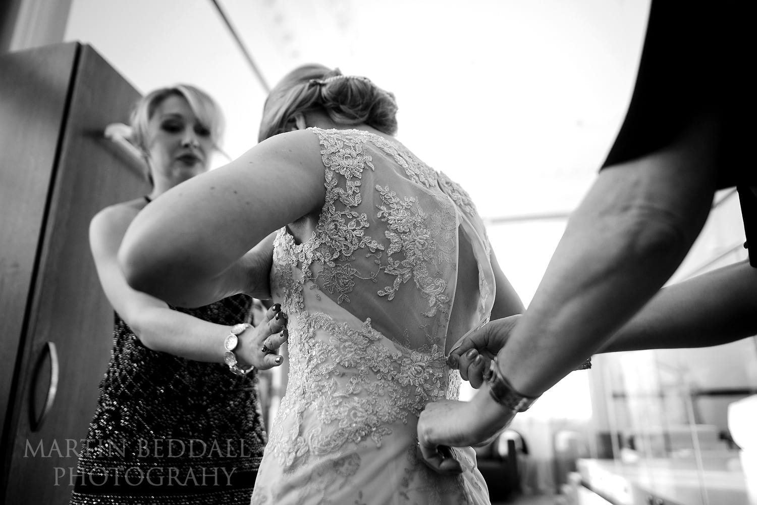 Wedding dress fitting at Town Hall Hotel