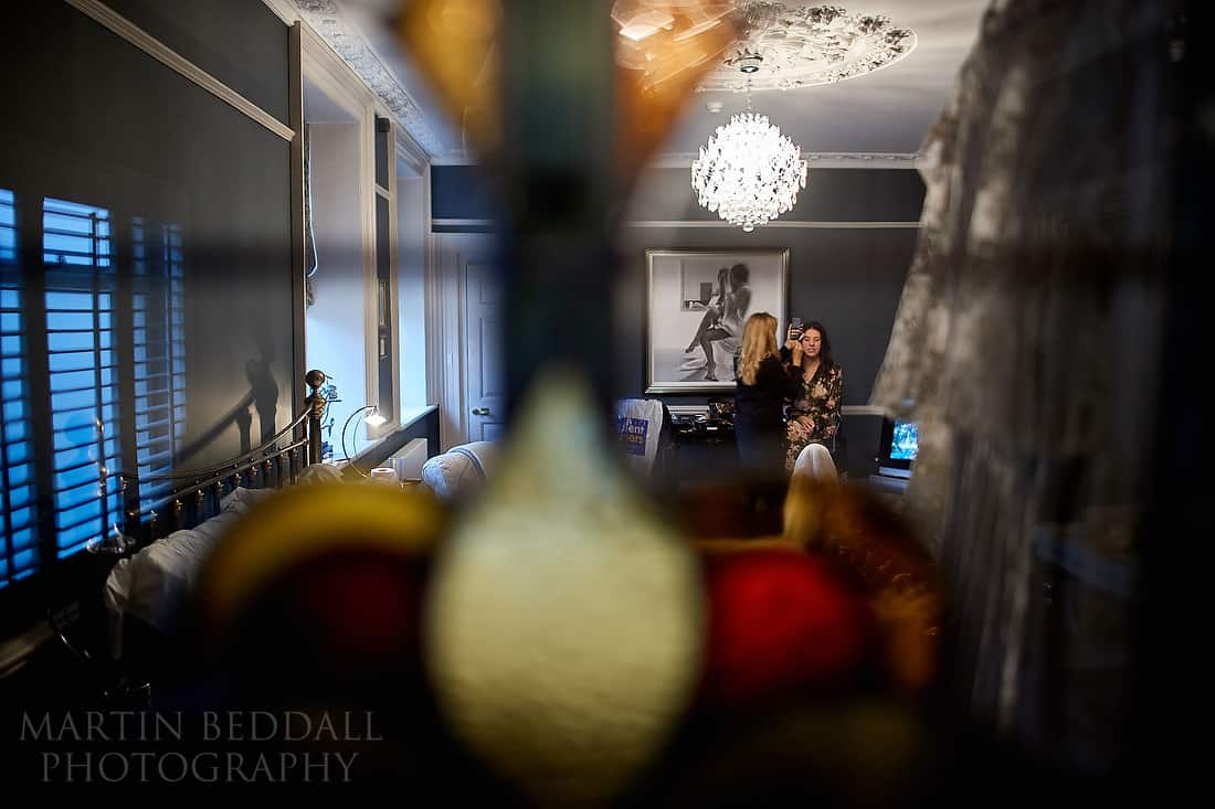 bride getting ready at 38 St Giles in Norwich