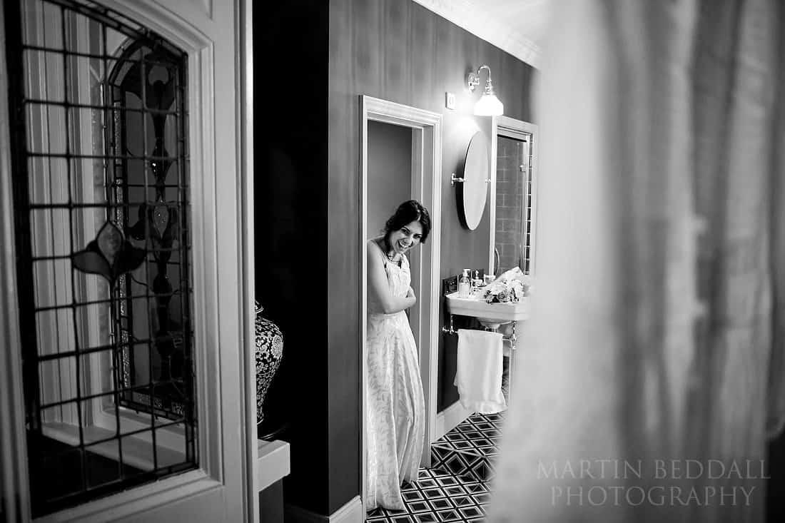 into the wedding dress