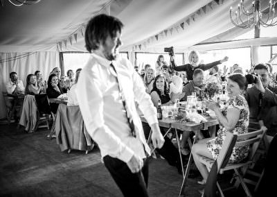 Groom entertains the guests