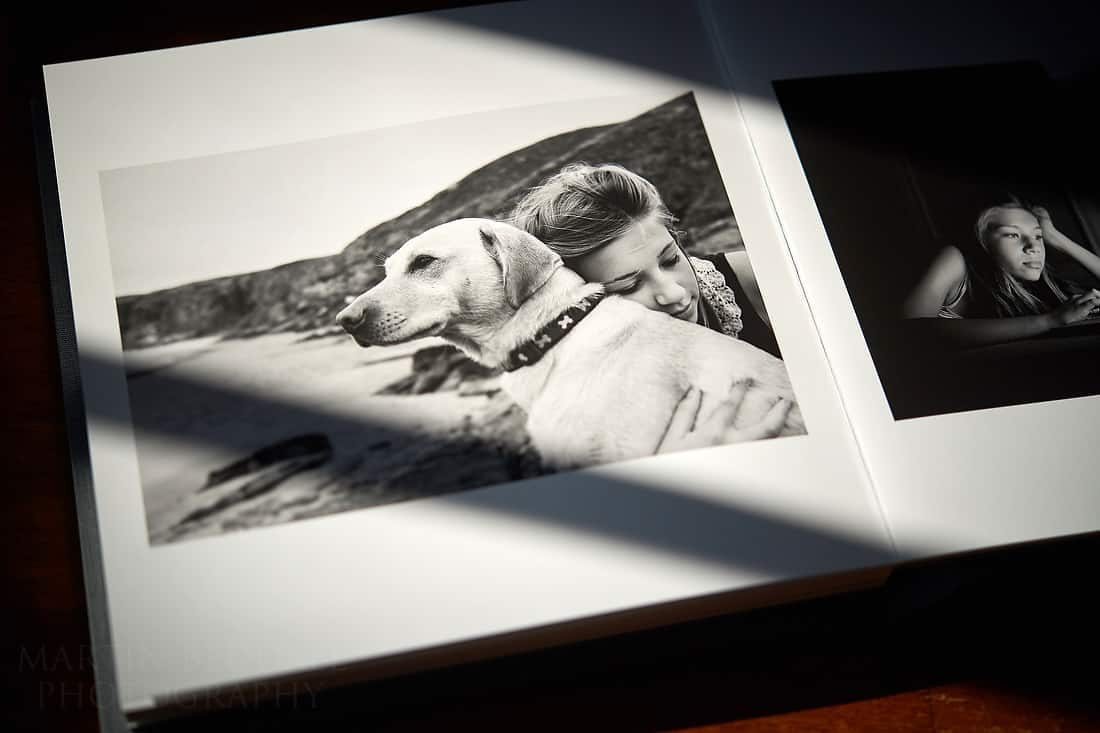 Book of childhood memories - hugging her dog in Devon
