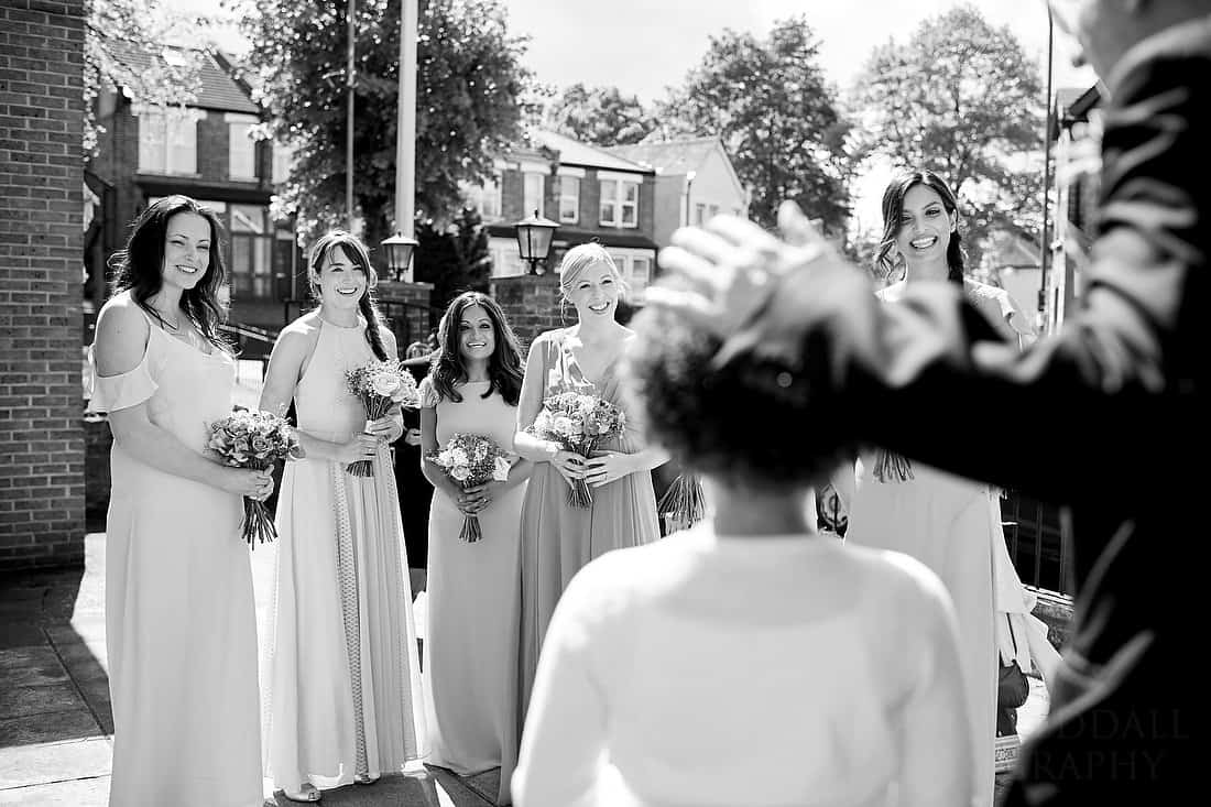 Bridesmaids introduced to the flowergirls