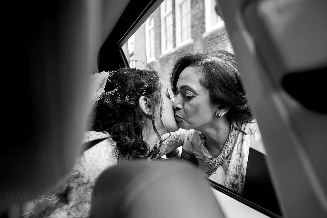 Kiss from her mother for the bride