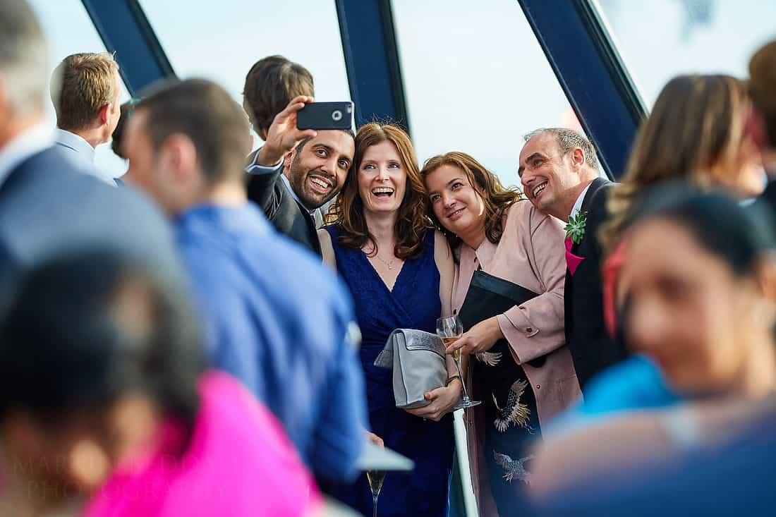 Gherkin wedding reception selfie