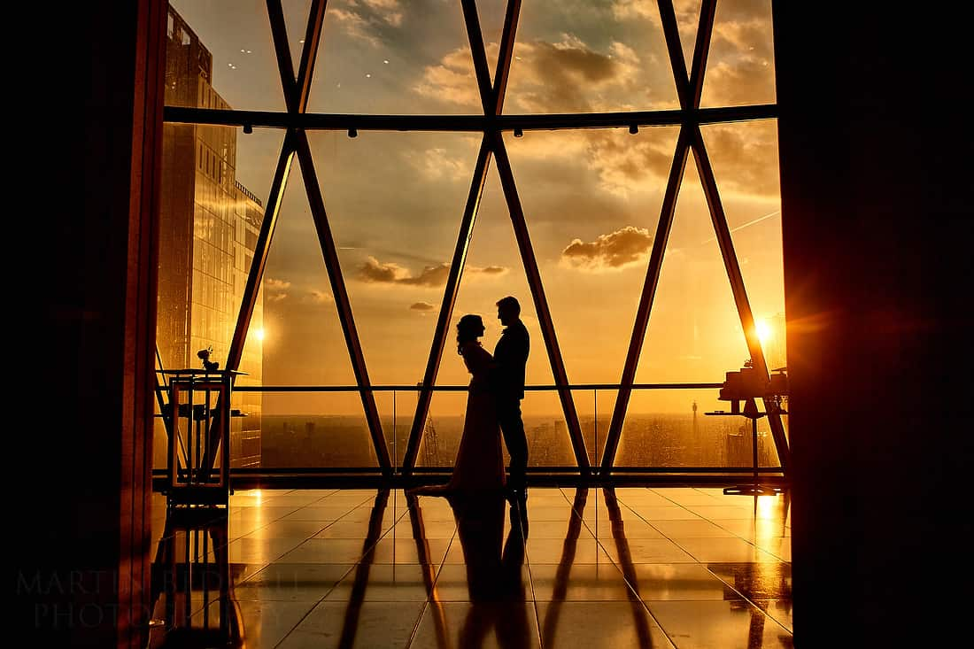 Gherkin wedding at sunset