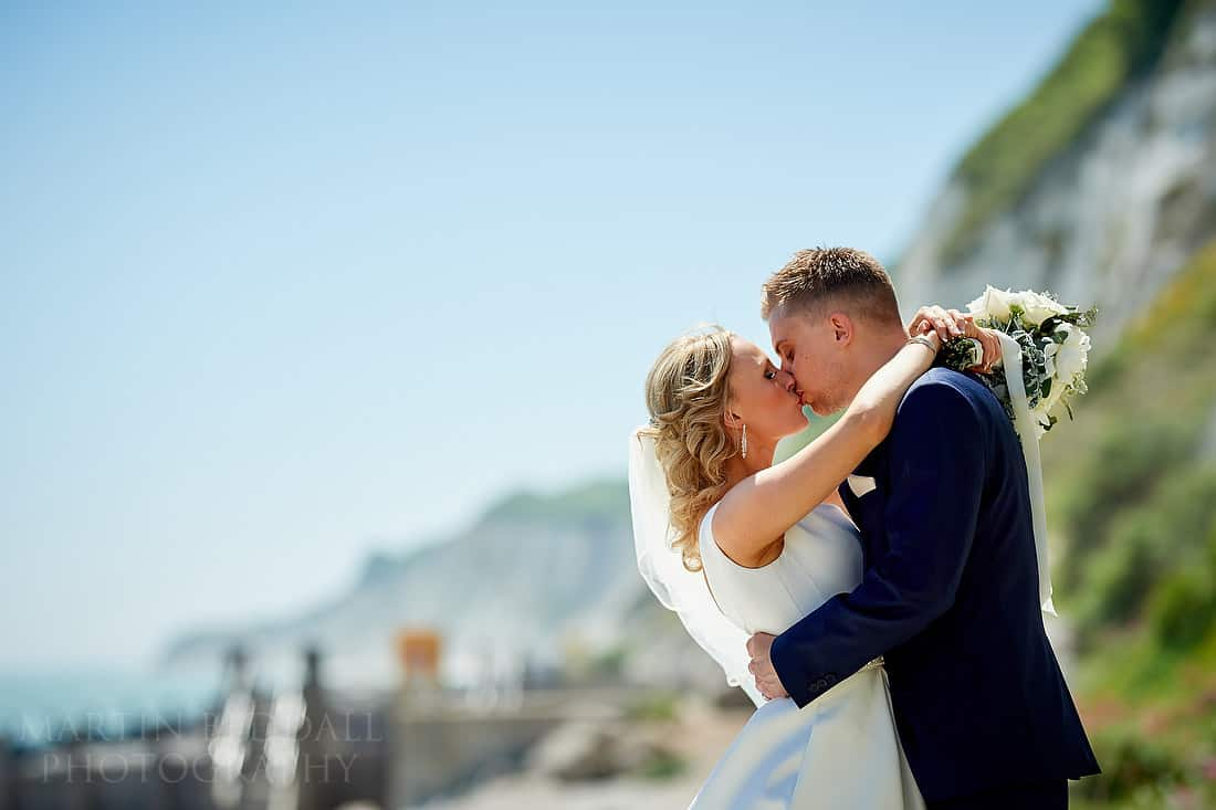 Bride and groom portrait on Eastbourne beach