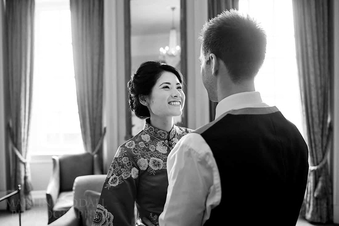 Bride greets the groom