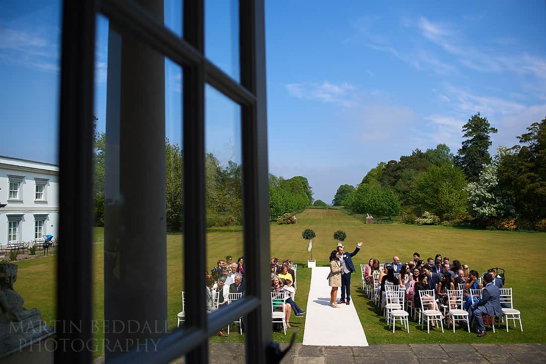 open air wedding ceremony at Buxted Park