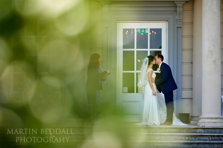 Buxted Park wedding kiss