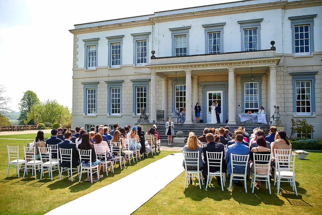 Buxted Pak Hotel wedding ceremony on the lawn