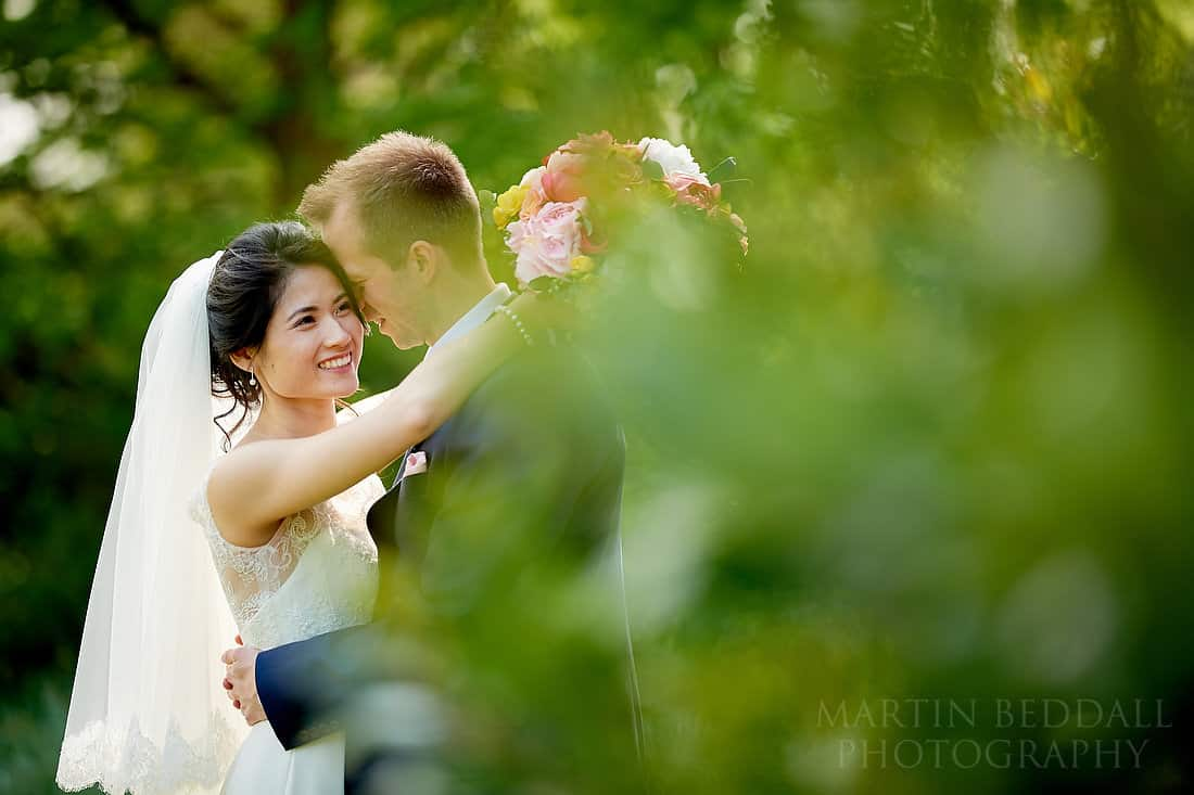 Bride and groom portrait at Buxted Park hotel