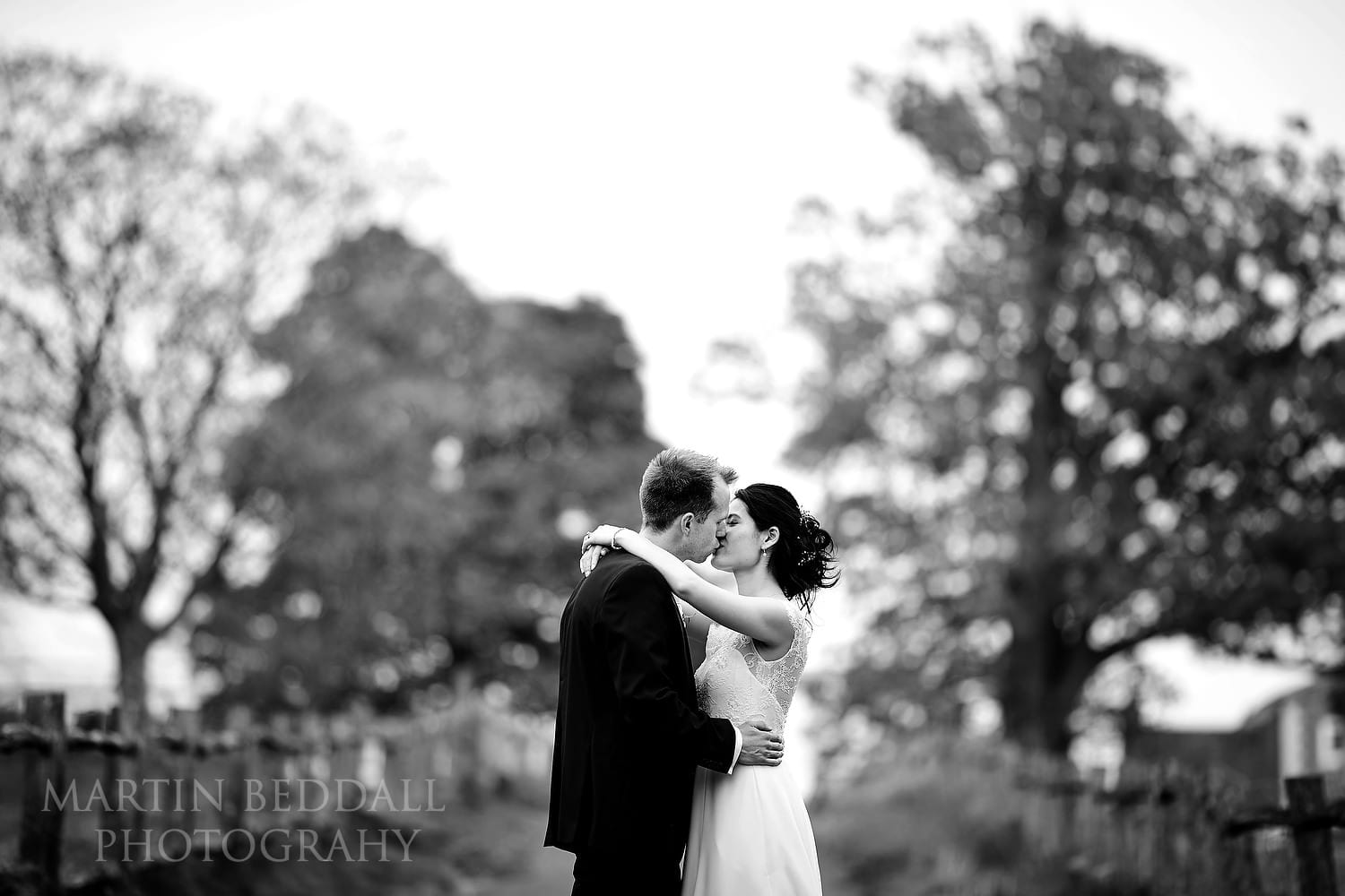 Bride and groom portrait at Buxted Park