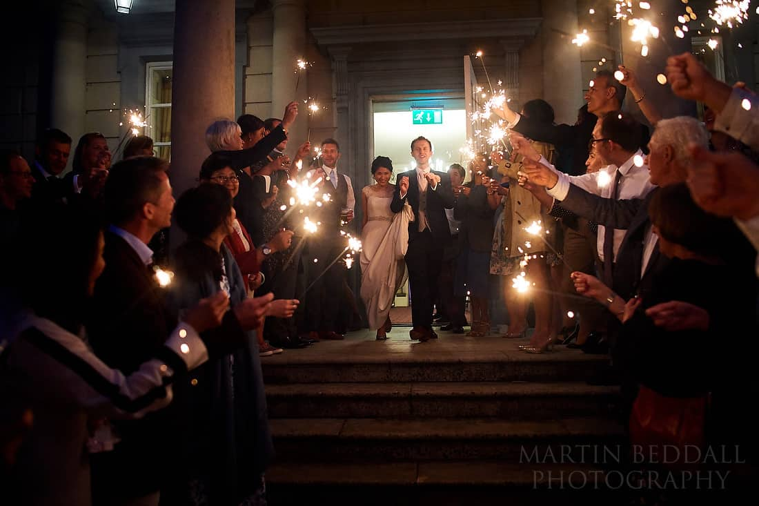 Sparklers at Buxted park hotel wedding