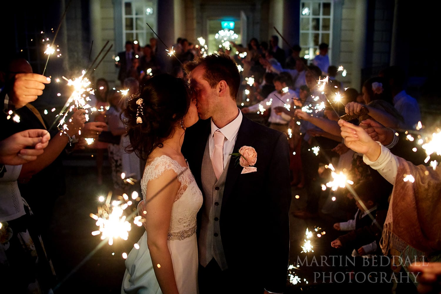 Wedding sparklers at Buxted Park