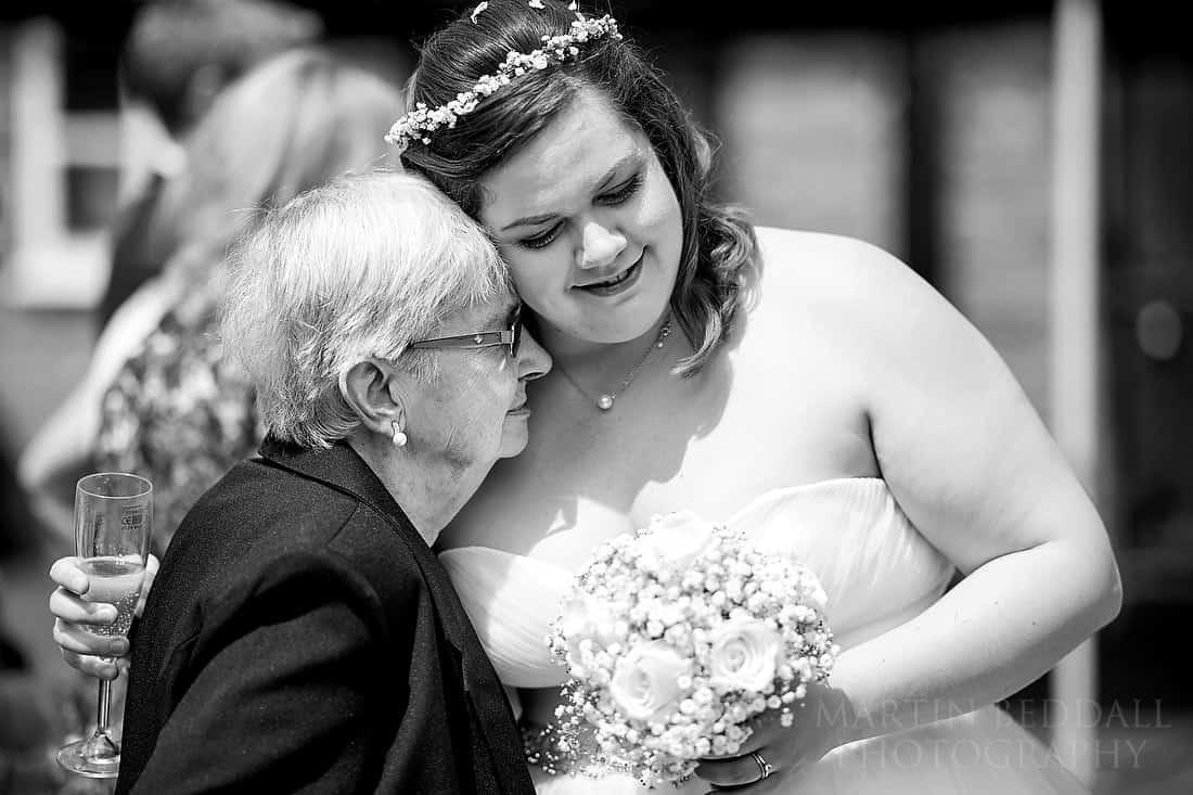 Bride hugs her granny