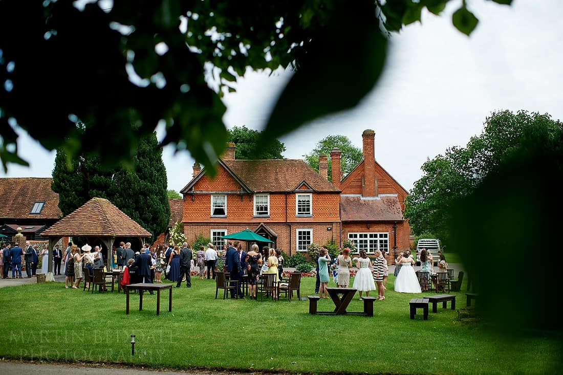Herons Farm wedding reception on the lawn