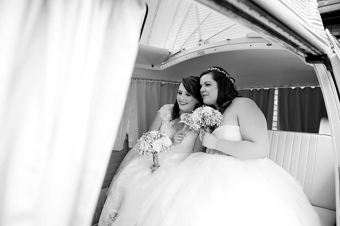Brides in ther VW camper van photo booth