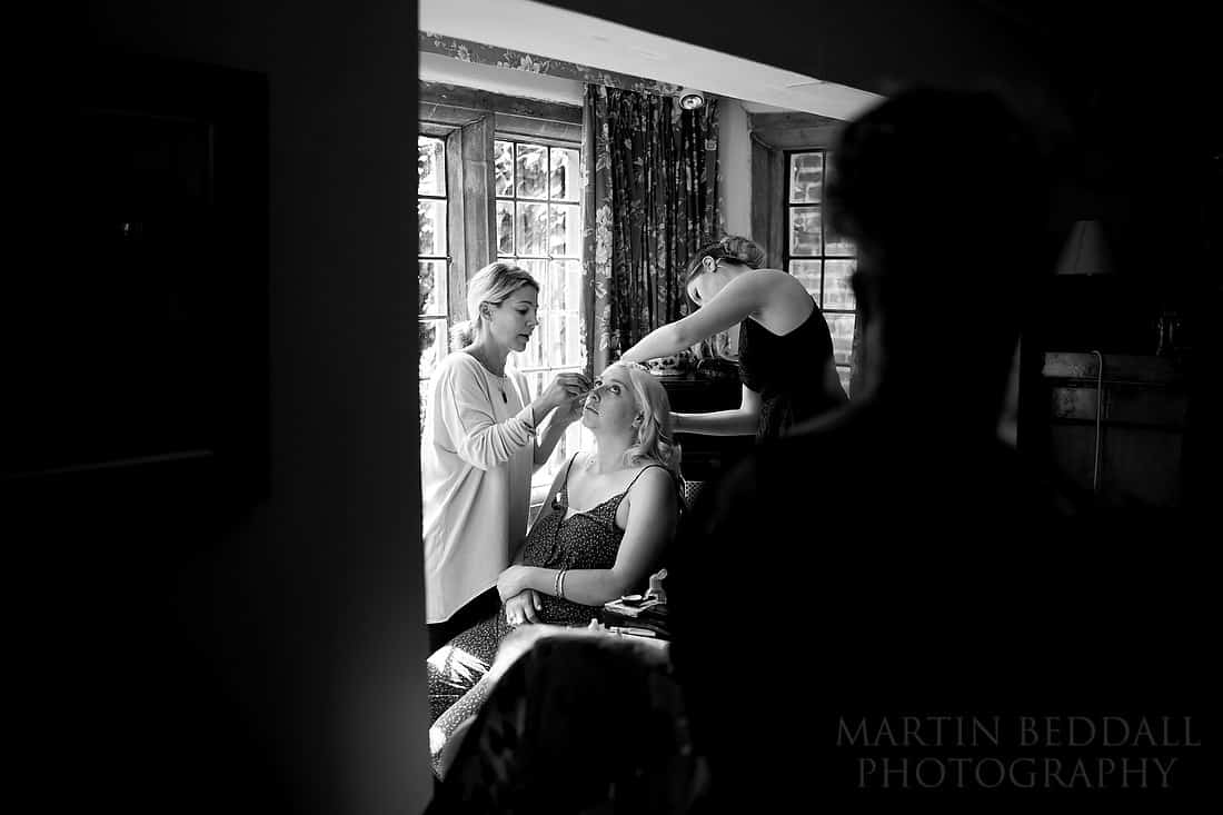 Bride's sister getting ready