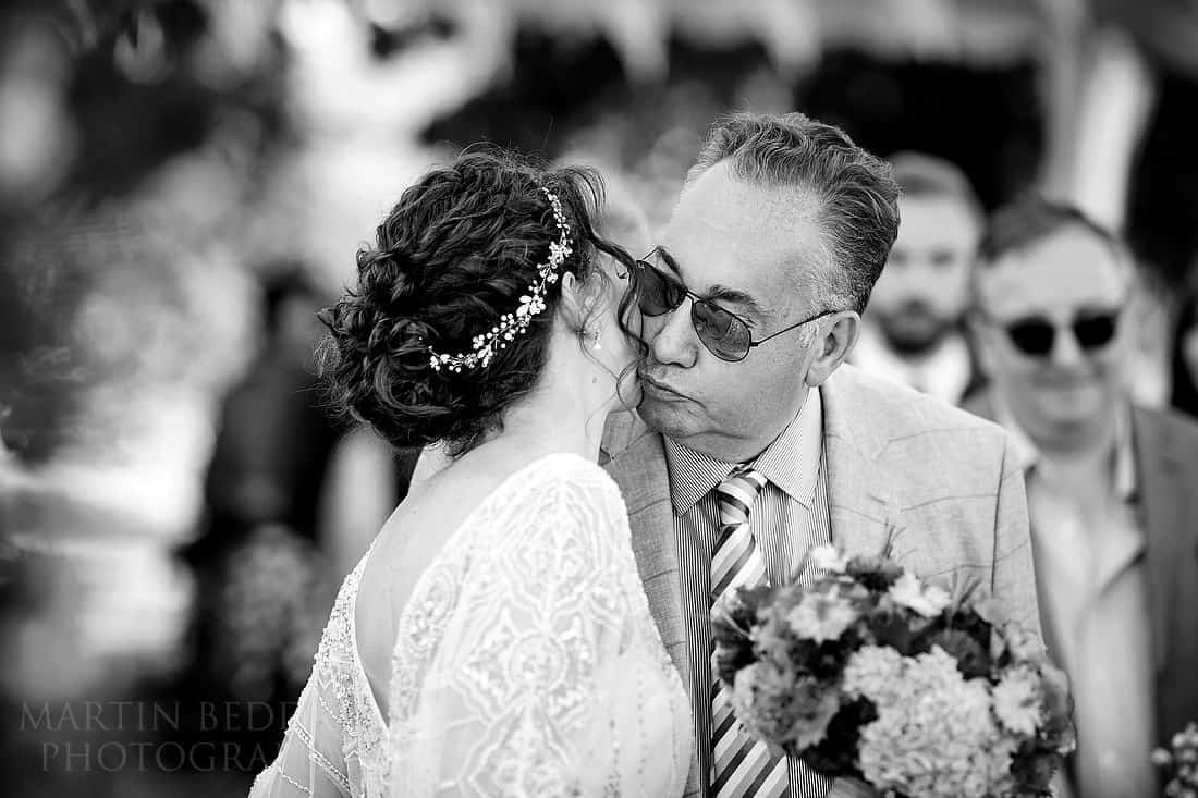 Kiss from her father for the bride