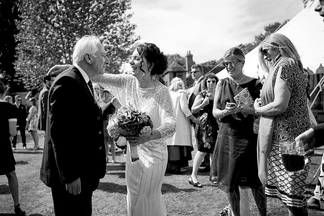 Bride greets her grandfather