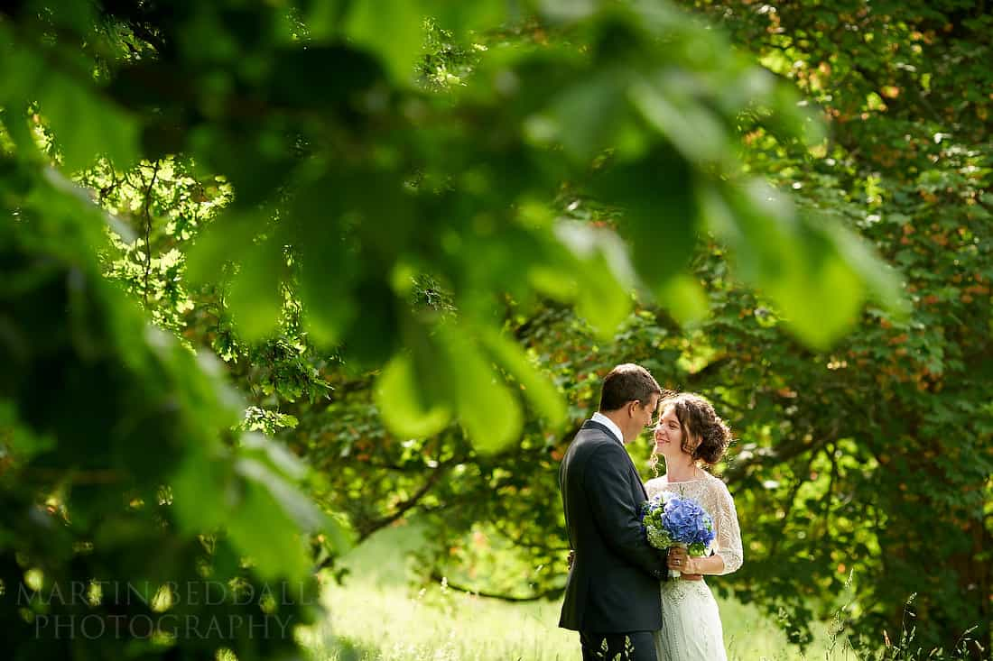 Bride and groom portrait at Pekes Manor in Sussex