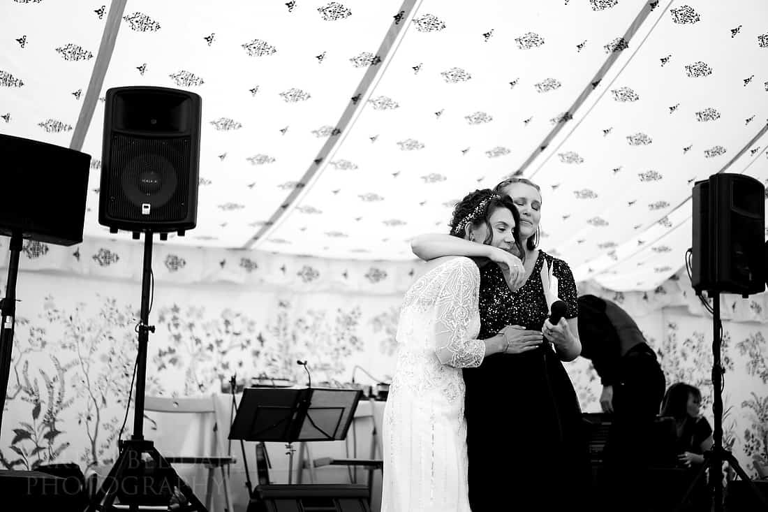 A hug of support from the bride
