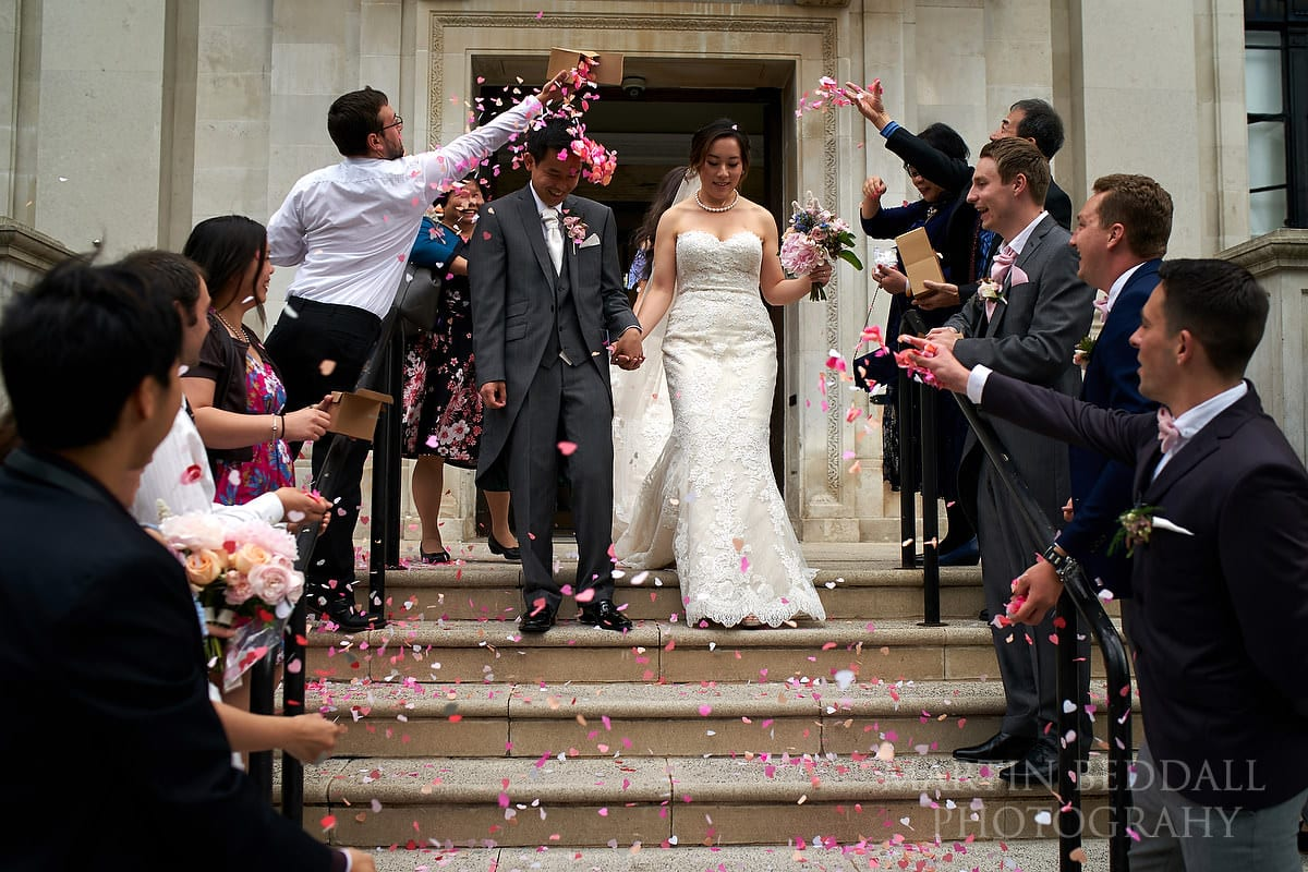 Confetti at small London wedding