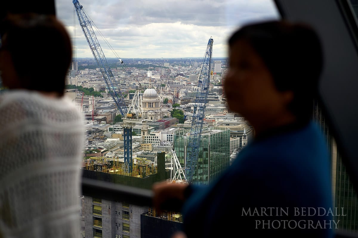 View during a small London wedding from the Gherkin