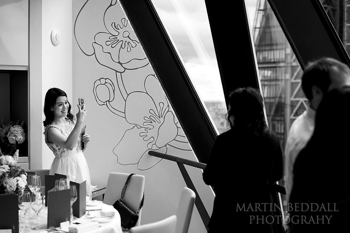 small London wedding reception at The Gherkin