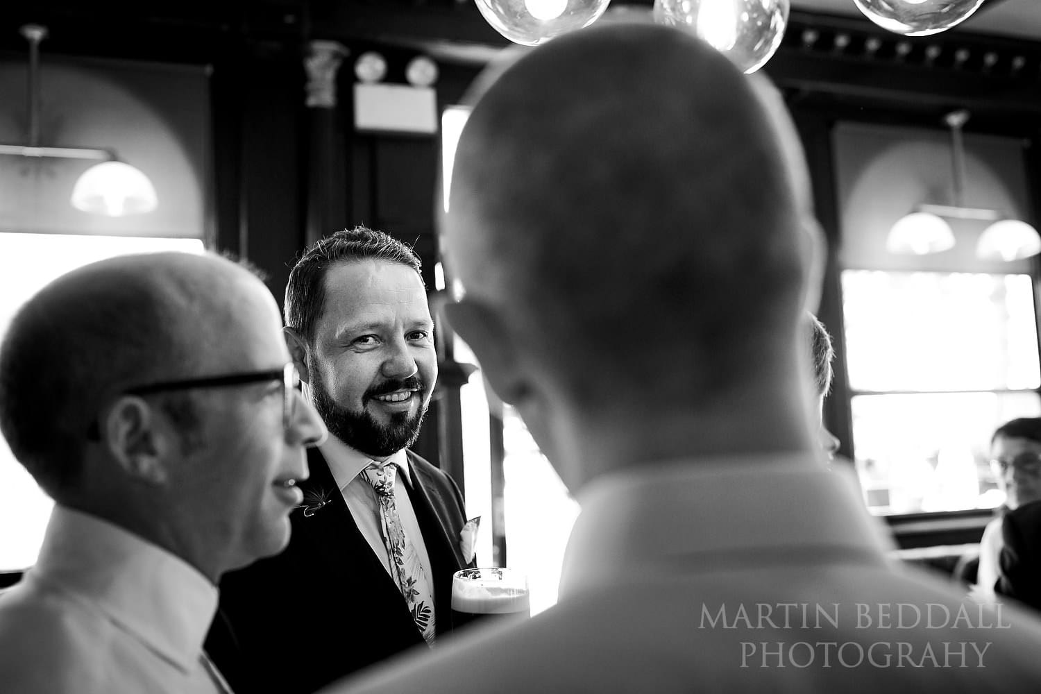 Groom in a Bloomsbury pub before the ceremony