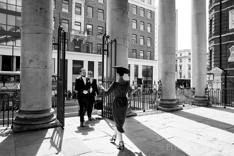 Groom arrives at St George's church in Bloomsbury