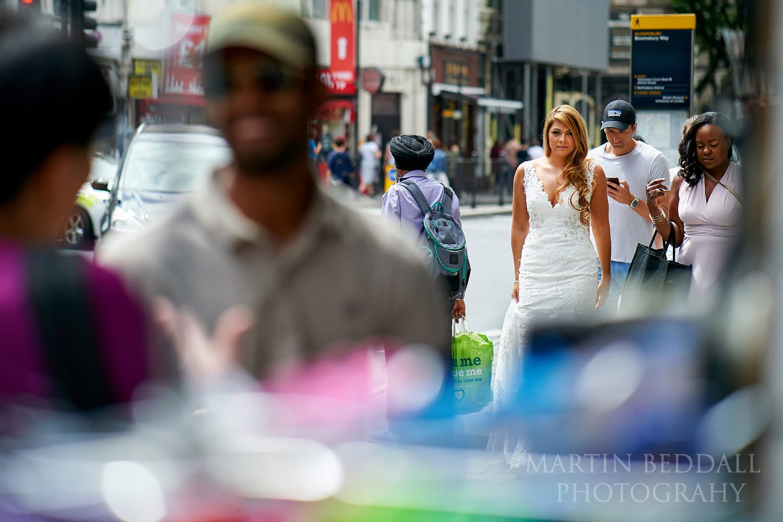 Bride walks to the church in Bloomsbury