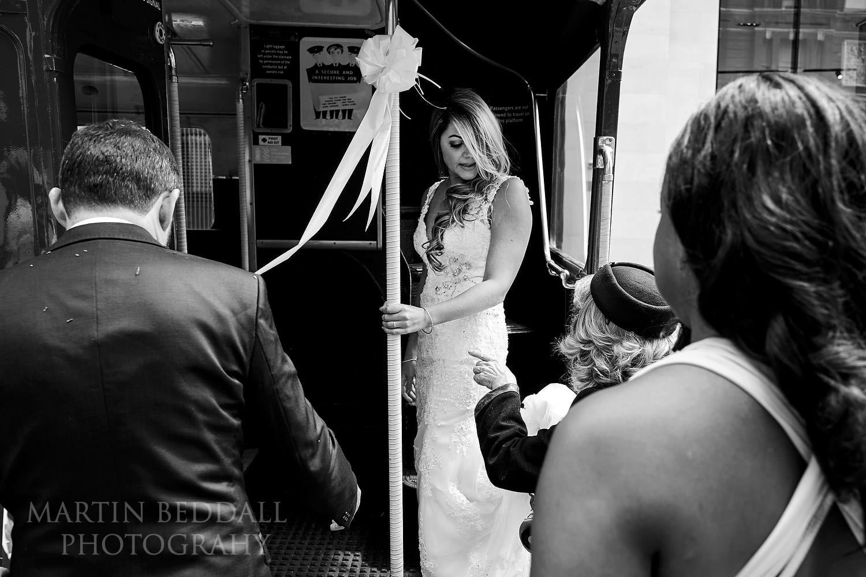 Getting onto the wedding bus in Bloomsbury