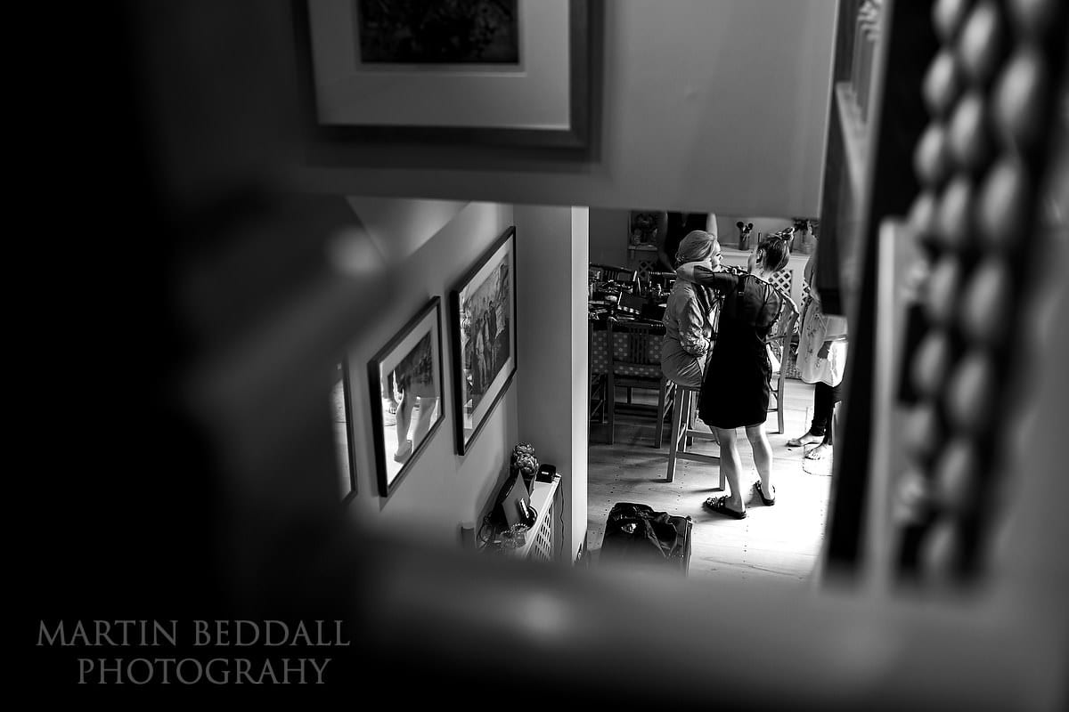 Bride getting ready in East Horsley house
