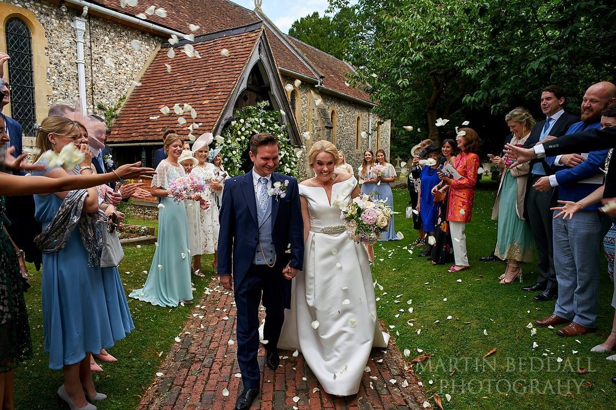 Confetti at East Horsley church wedding