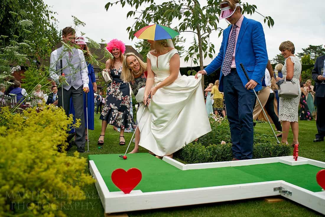 bride on the mini golf